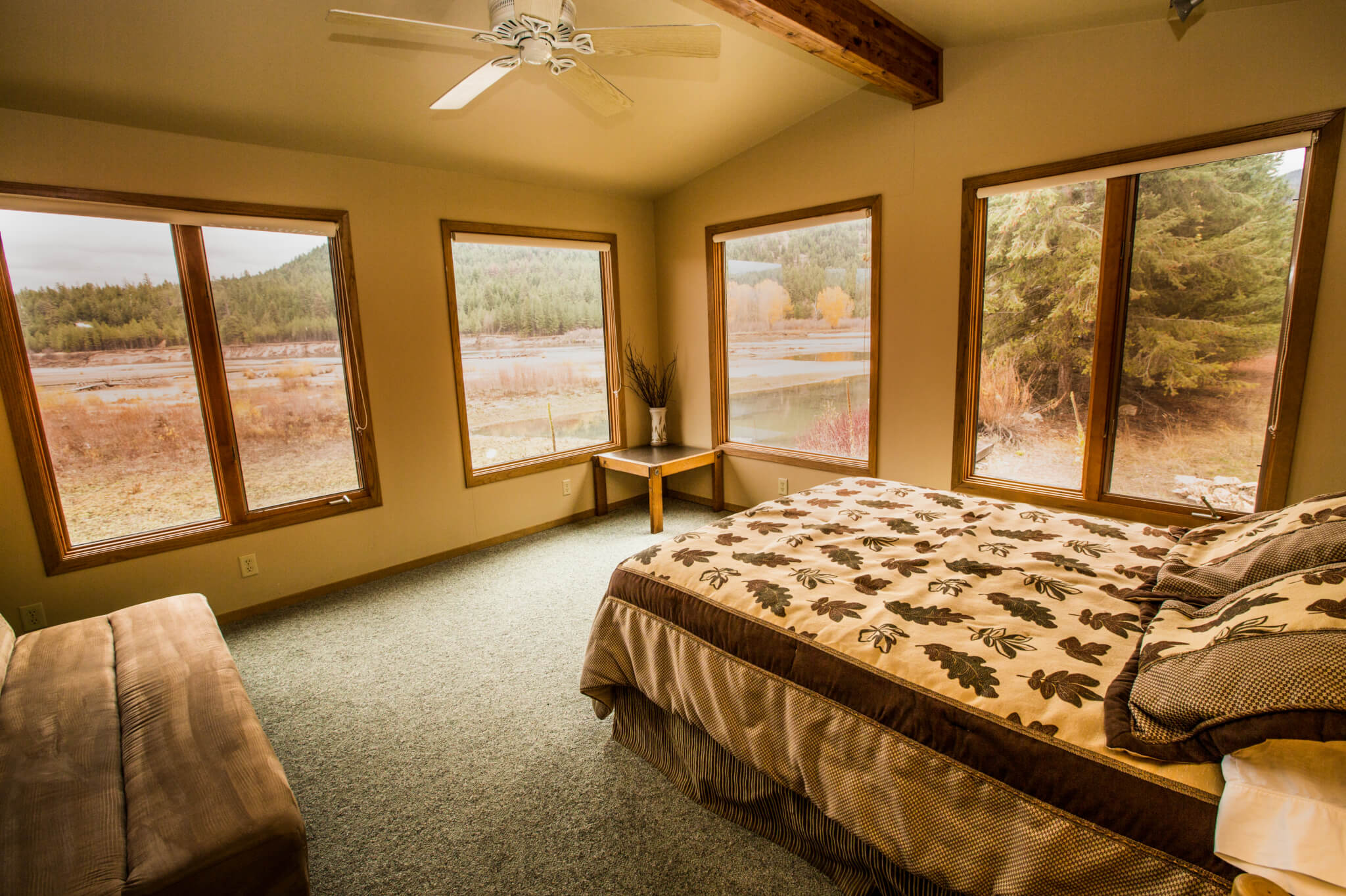 Bedroom of fishing lodge.